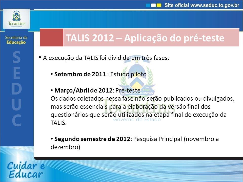 TALIS 2012 – Aplicação do pré-teste A execução da TALIS foi dividida em três fases: Setembro de 2011 : Estudo piloto Março/Abril de 2012: Pré-teste Os dados coletados nessa fase não serão publicados ou divulgados, mas serão essenciais para a elaboração da versão final dos questionários que serão utilizados na etapa final de execução da TALIS.