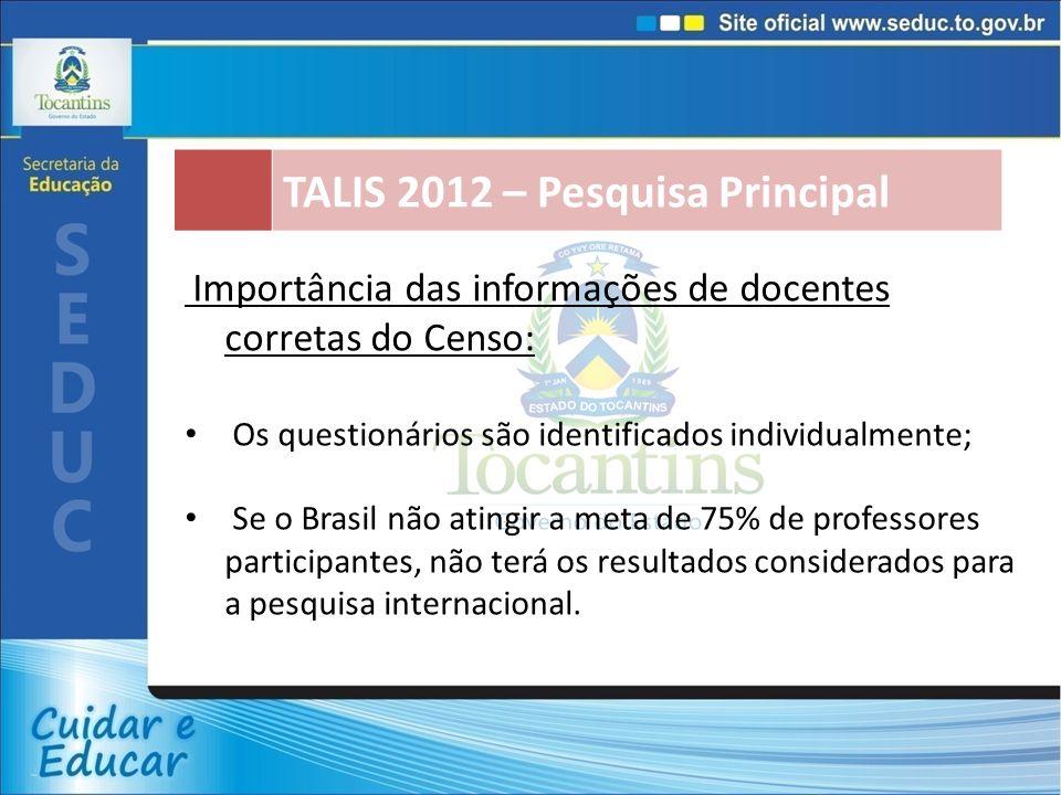 TALIS 2012 – Pesquisa Principal Importância das informações de docentes corretas do Censo: Os questionários são identificados individualmente; Se o Brasil não atingir a meta de 75% de professores participantes, não terá os resultados considerados para a pesquisa internacional.