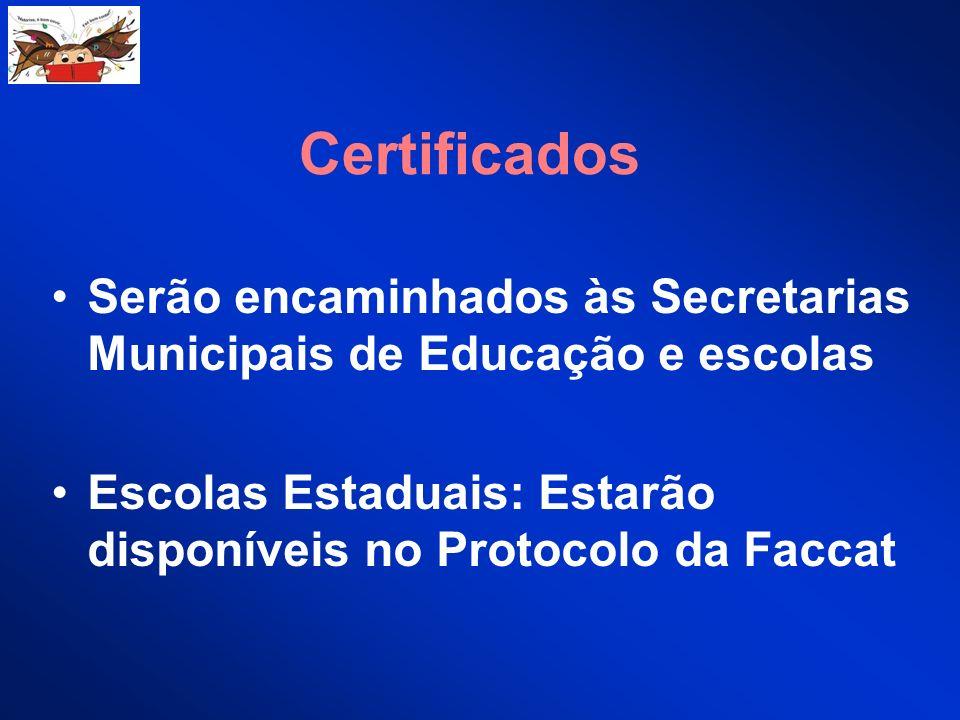 Certificados Serão encaminhados às Secretarias Municipais de Educação e escolas Escolas Estaduais: Estarão disponíveis no Protocolo da Faccat