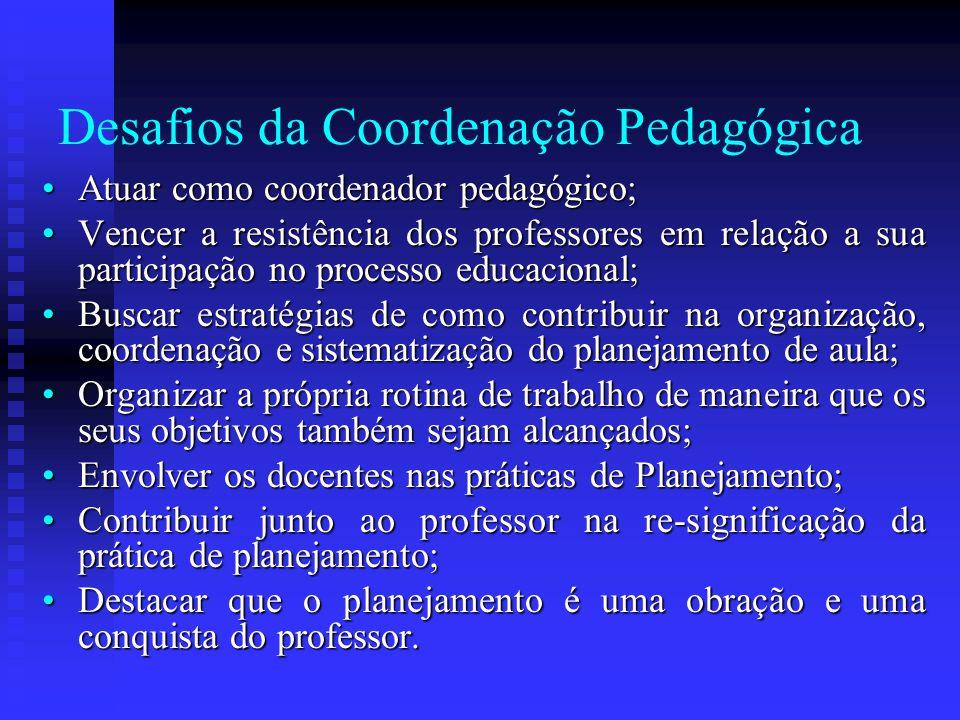 Desafios da Coordenação Pedagógica Atuar como coordenador pedagógico;Atuar como coordenador pedagógico; Vencer a resistência dos professores em relaçã