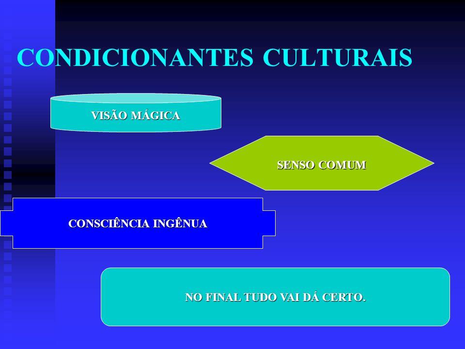CONDICIONANTES CULTURAIS VISÃO MÁGICA SENSO COMUM CONSCIÊNCIA INGÊNUA NO FINAL TUDO VAI DÁ CERTO.