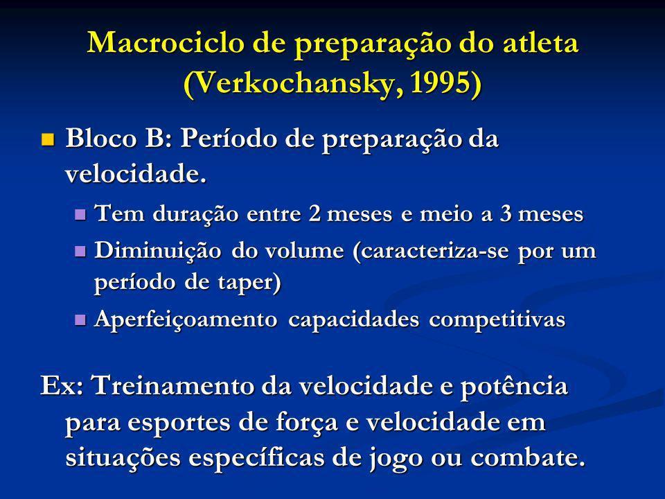 Macrociclo de preparação do atleta (Verkochansky, 1995) Bloco B: Período de preparação da velocidade. Bloco B: Período de preparação da velocidade. Te