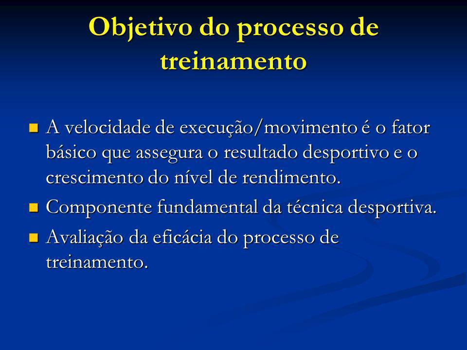 Objetivo do processo de treinamento A velocidade de execução/movimento é o fator básico que assegura o resultado desportivo e o crescimento do nível d