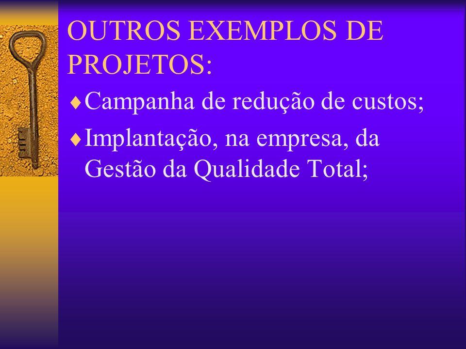 OUTROS EXEMPLOS DE PROJETOS: Campanha de redução de custos; Implantação, na empresa, da Gestão da Qualidade Total;