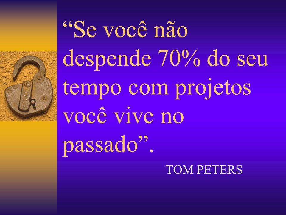 Se você não despende 70% do seu tempo com projetos você vive no passado. TOM PETERS