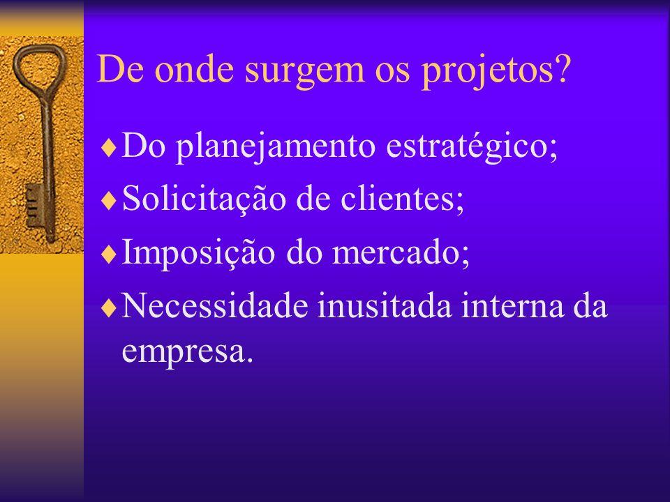 De onde surgem os projetos? Do planejamento estratégico; Solicitação de clientes; Imposição do mercado; Necessidade inusitada interna da empresa.