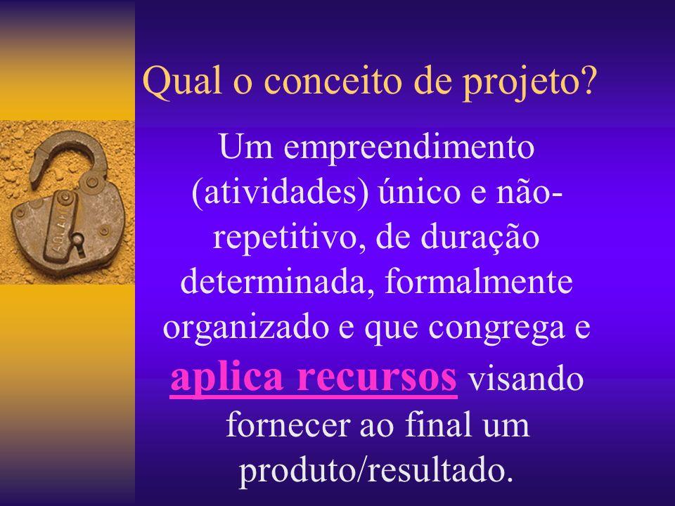 Qual o conceito de projeto? Um empreendimento (atividades) único e não- repetitivo, de duração determinada, formalmente organizado e que congrega e ap