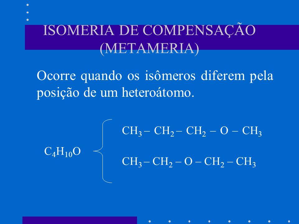 ISOMERIA DE COMPENSAÇÃO (METAMERIA) Ocorre quando os isômeros diferem pela posição de um heteroátomo. CH 3 – CH 2 – CH 2 – O – CH 3 CH 3 – CH 2 – O –
