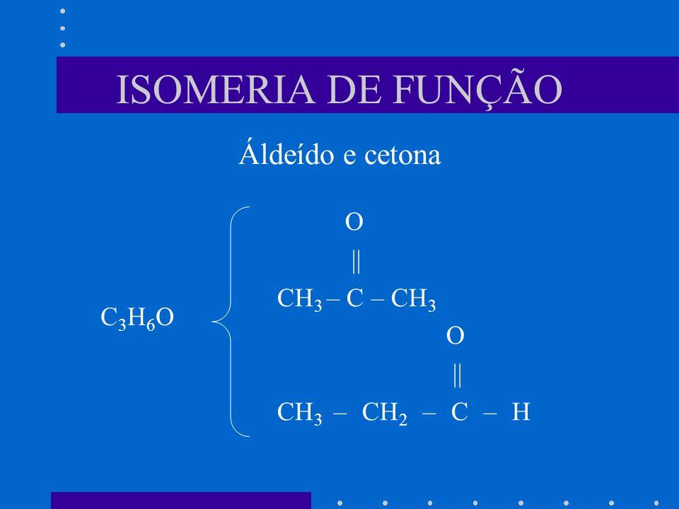 ISOMERIA DE FUNÇÃO O || CH 3 – C – CH 3 O || CH 3 – CH 2 – C – H C3H6OC3H6O Áldeído e cetona
