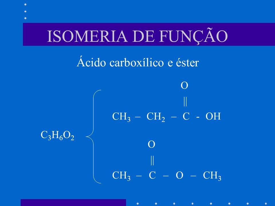 ISOMERIA DE FUNÇÃO O || CH 3 – CH 2 – C - OH O || CH 3 – C – O – CH 3 C3H6O2C3H6O2 Ácido carboxílico e éster