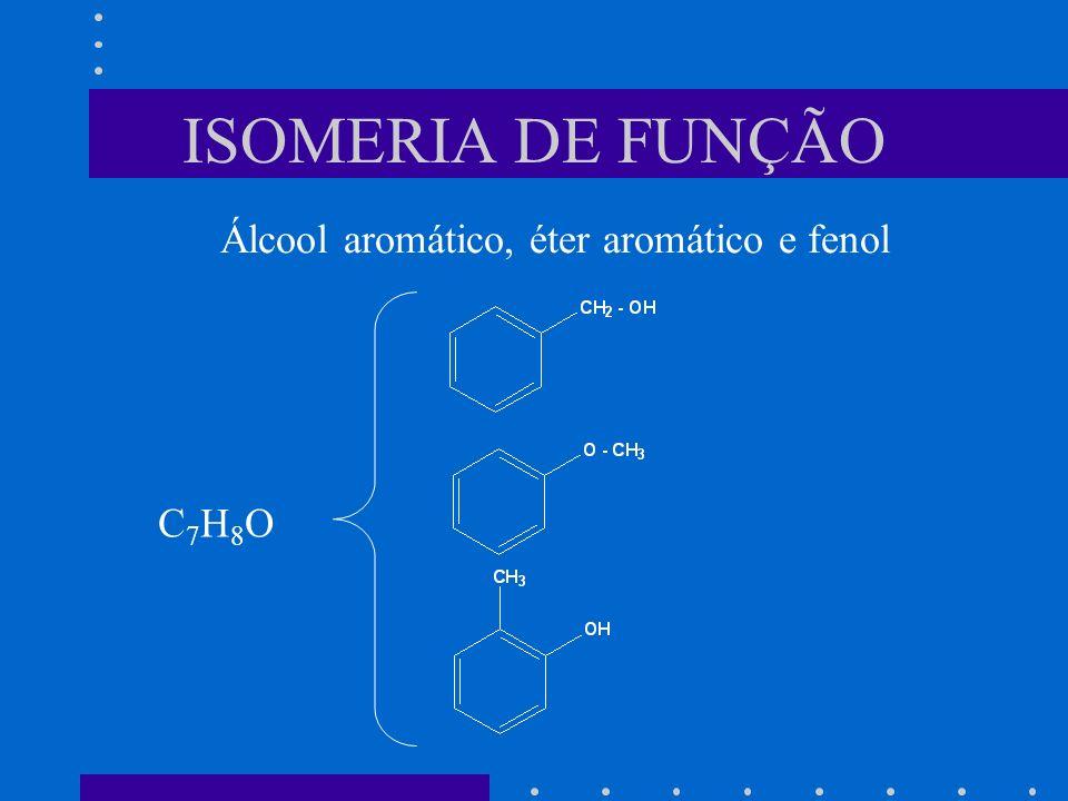 ISOMERIA DE FUNÇÃO Álcool aromático, éter aromático e fenol C7H8OC7H8O