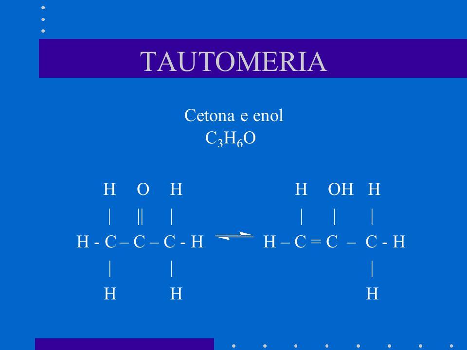 TAUTOMERIA Cetona e enol H OH H OH H | ||| | | | H - C – C – C - HH – C = C – C - H || | HH H C3H6OC3H6O
