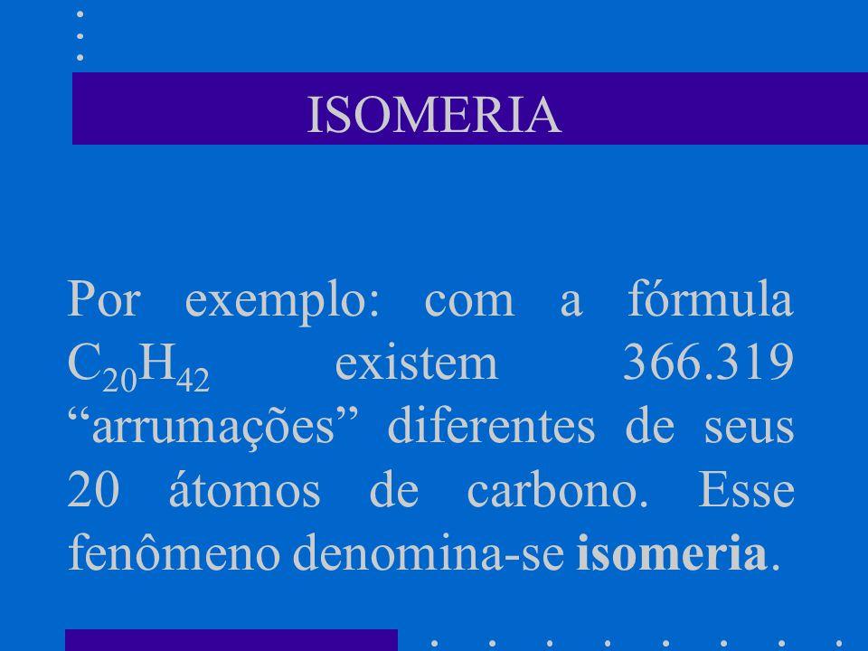 ISOMERIA Por exemplo: com a fórmula C 20 H 42 existem 366.319 arrumações diferentes de seus 20 átomos de carbono. Esse fenômeno denomina-se isomeria.