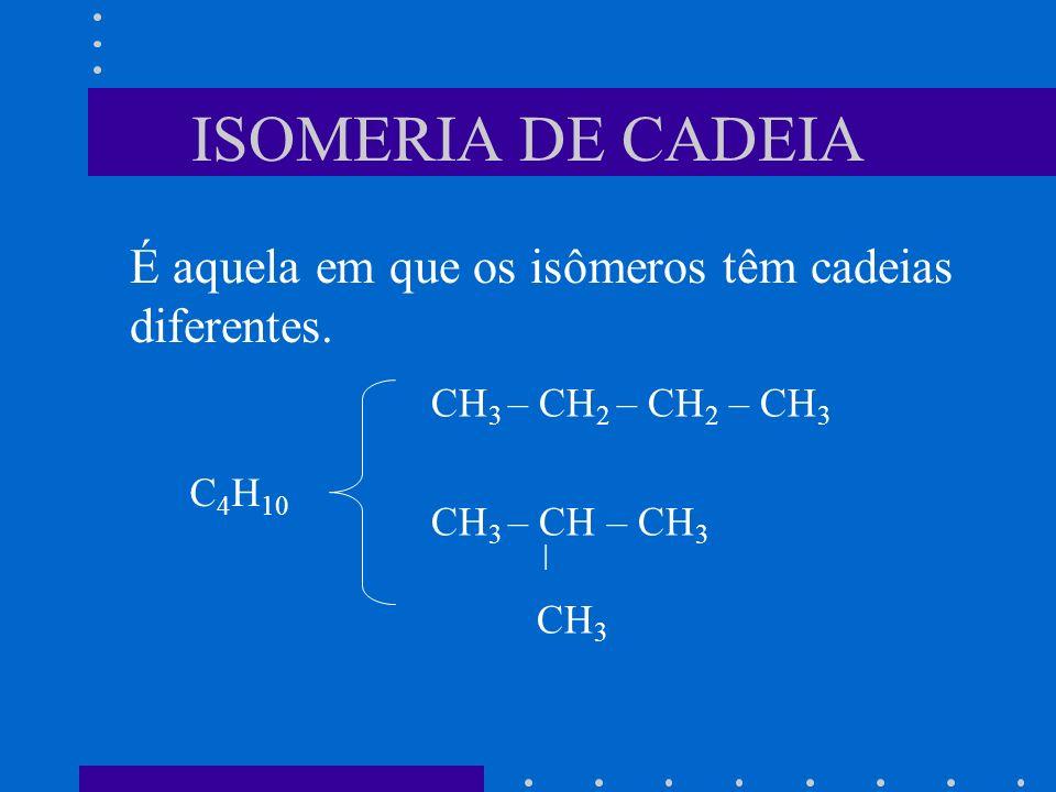 ISOMERIA DE CADEIA É aquela em que os isômeros têm cadeias diferentes. CH 3 – CH 2 – CH 2 – CH 3 CH 3 – CH – CH 3 | CH 3 C 4 H 10