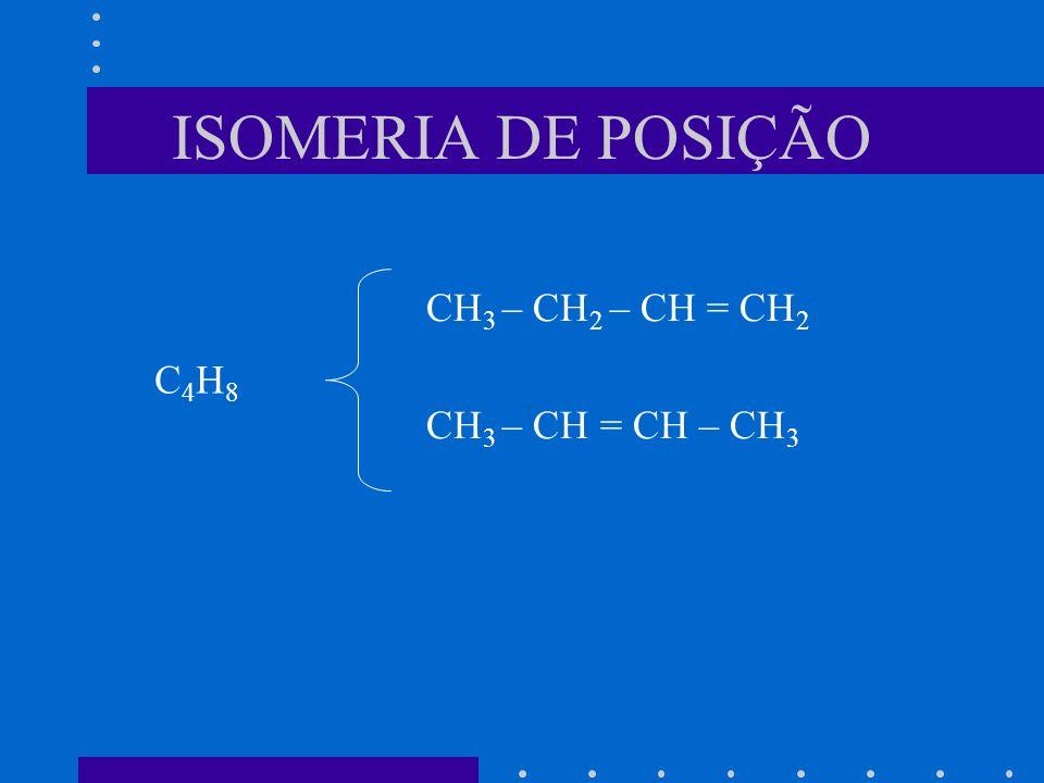 ISOMERIA DE POSIÇÃO CH 3 – CH 2 – CH = CH 2 CH 3 – CH = CH – CH 3 C4H8C4H8