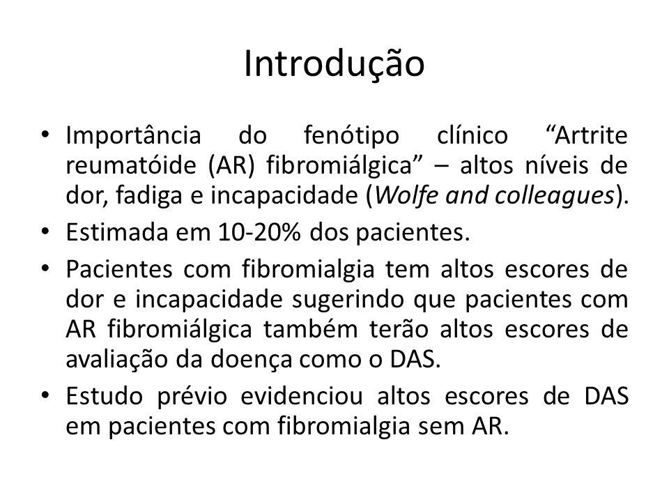 Introdução Importância do fenótipo clínico Artrite reumatóide (AR) fibromiálgica – altos níveis de dor, fadiga e incapacidade (Wolfe and colleagues).