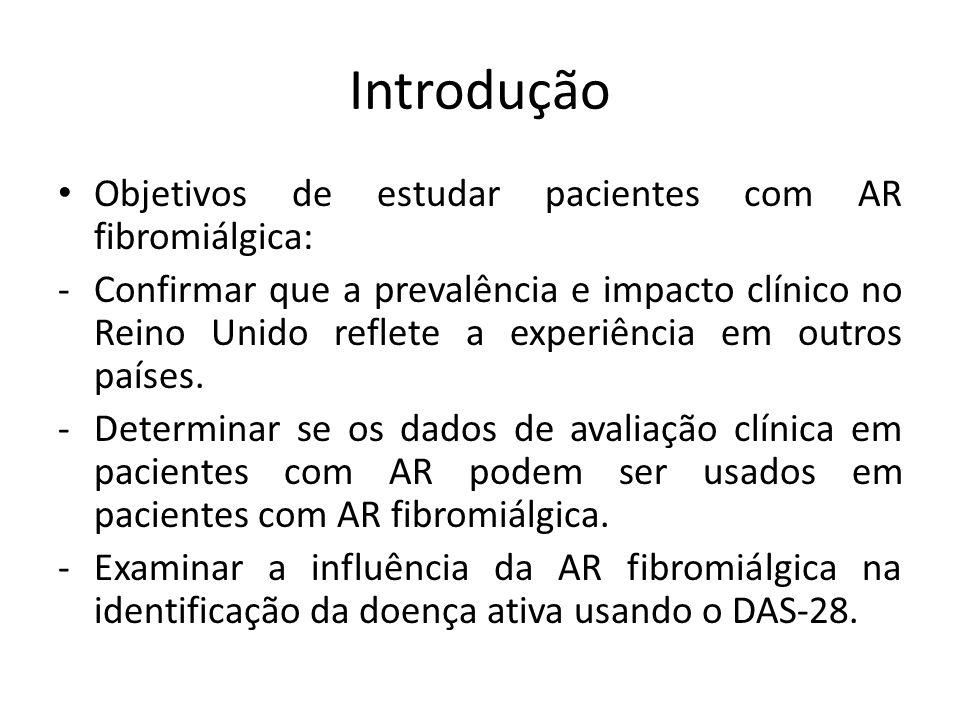 Introdução Objetivos de estudar pacientes com AR fibromiálgica: -Confirmar que a prevalência e impacto clínico no Reino Unido reflete a experiência em outros países.