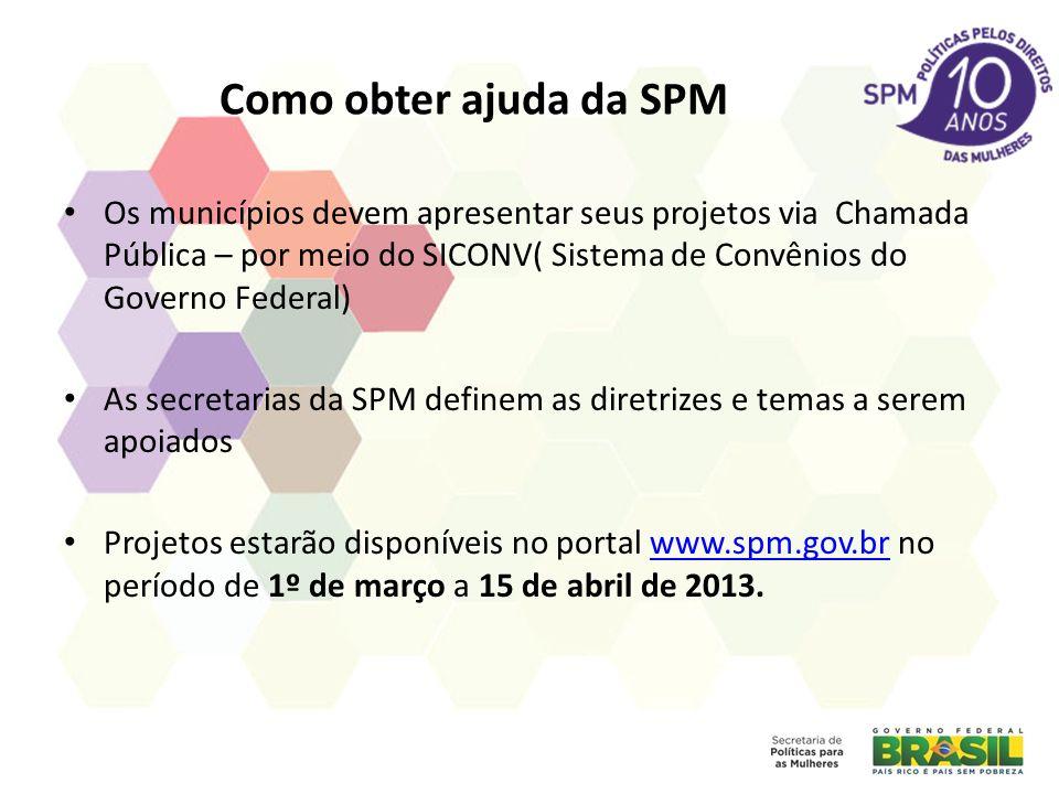 Como obter ajuda da SPM Os municípios devem apresentar seus projetos via Chamada Pública – por meio do SICONV( Sistema de Convênios do Governo Federal