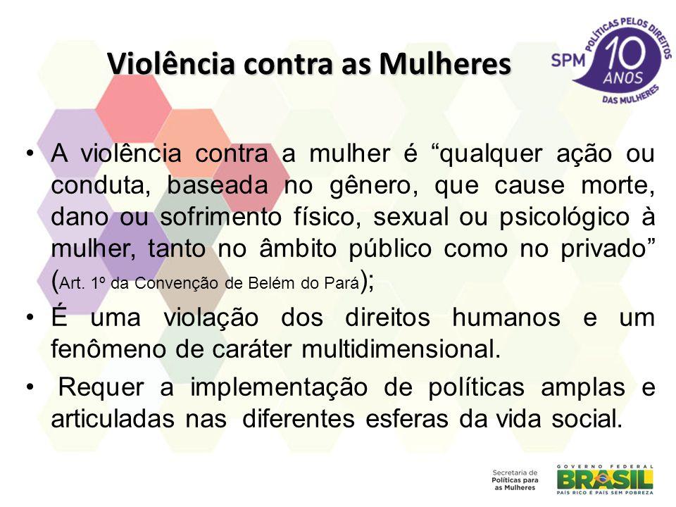 Violência contra as Mulheres A violência contra a mulher é qualquer ação ou conduta, baseada no gênero, que cause morte, dano ou sofrimento físico, sexual ou psicológico à mulher, tanto no âmbito público como no privado ( Art.