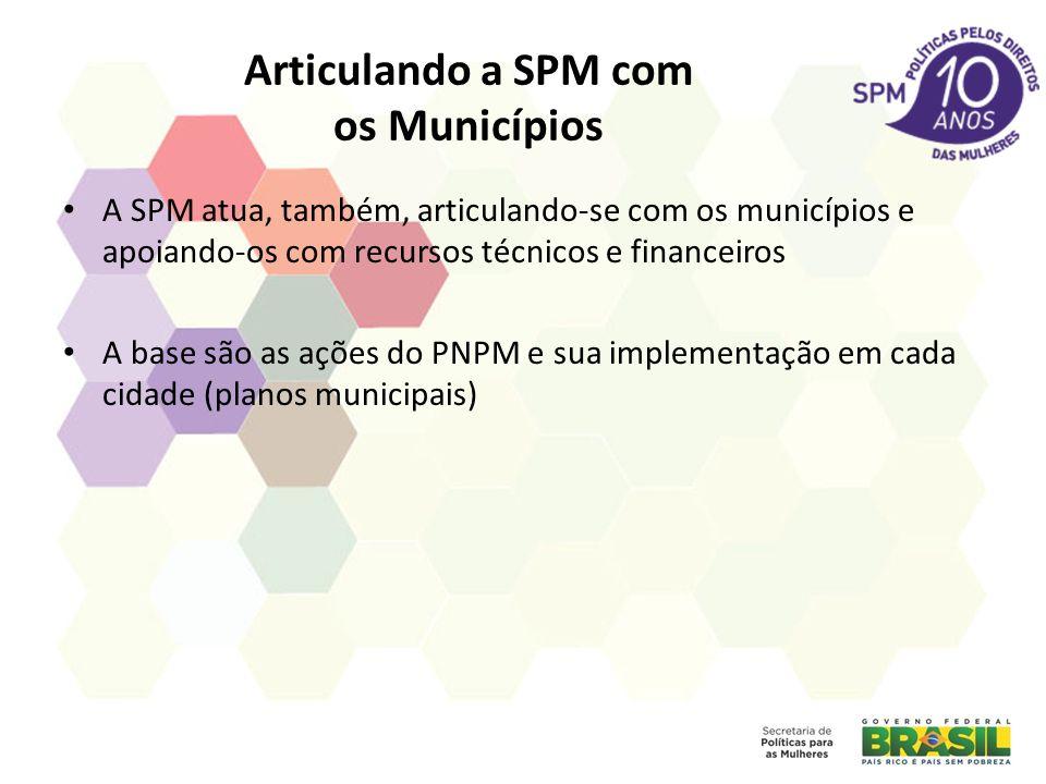 Articulando a SPM com os Municípios A SPM atua, também, articulando-se com os municípios e apoiando-os com recursos técnicos e financeiros A base são as ações do PNPM e sua implementação em cada cidade (planos municipais)