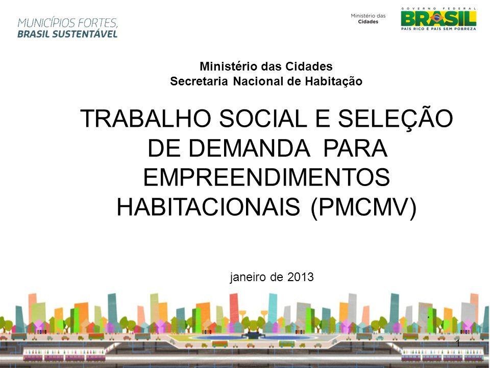 2 Ministério das Cidades Secretaria Nacional de Habitação TRABALHO SOCIAL Componente estratégico da Política Habitacional Estratégia de desenvolvimento social das famílias Moradia digna