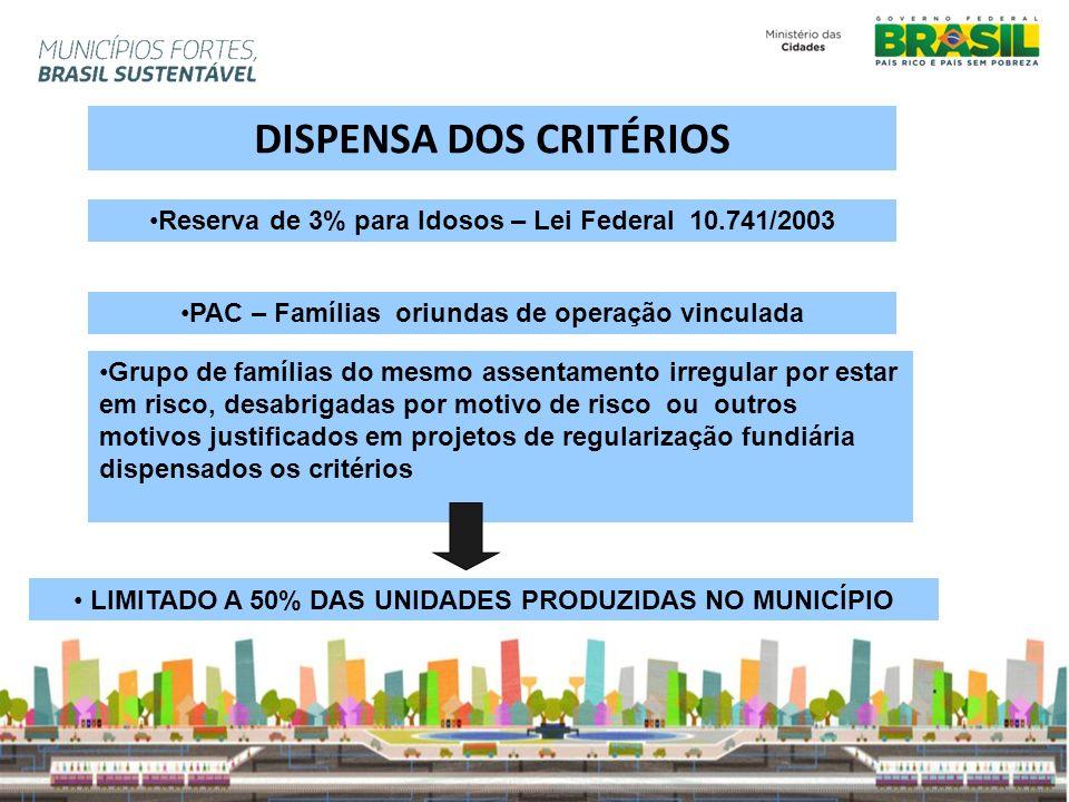LIMITADO A 50% DAS UNIDADES PRODUZIDAS NO MUNICÍPIO DISPENSA DOS CRITÉRIOS Grupo de famílias do mesmo assentamento irregular por estar em risco, desab
