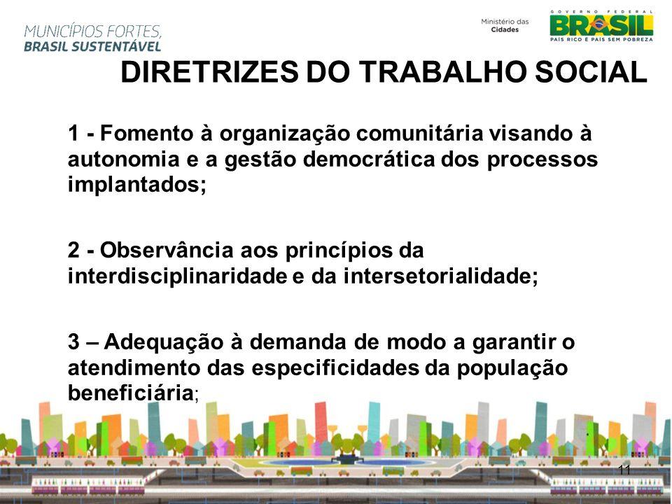 11 DIRETRIZES DO TRABALHO SOCIAL 1 - Fomento à organização comunitária visando à autonomia e a gestão democrática dos processos implantados; 2 - Obser