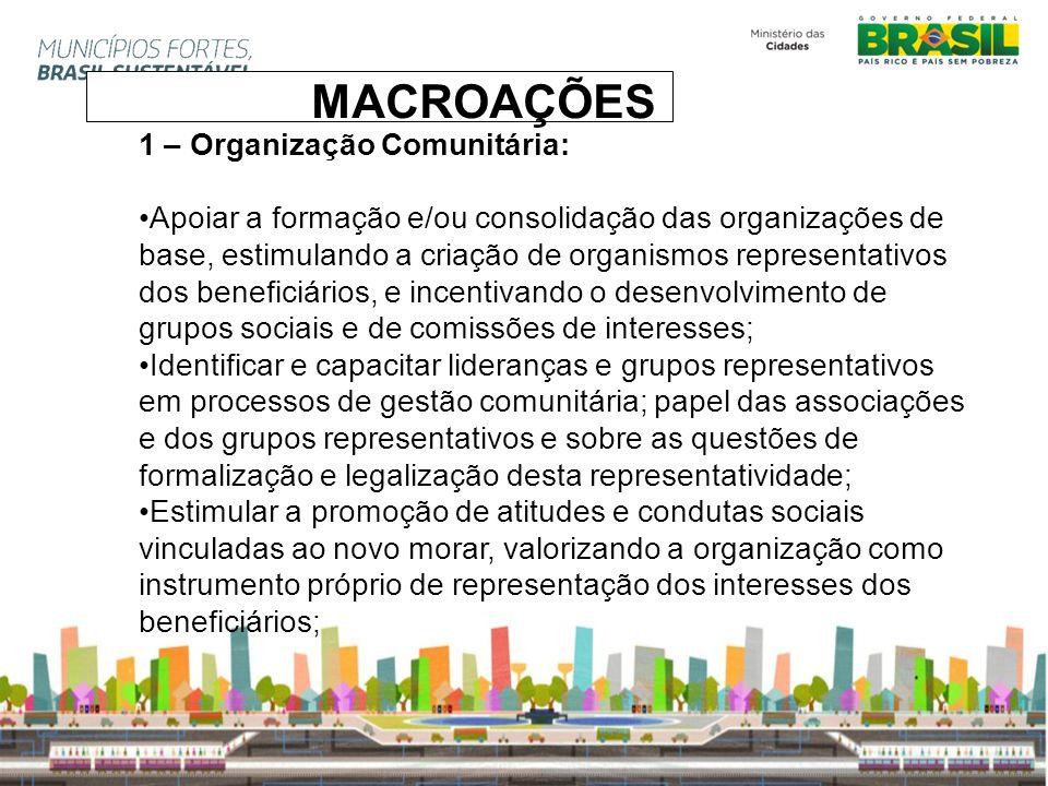 1 – Organização Comunitária: Apoiar a formação e/ou consolidação das organizações de base, estimulando a criação de organismos representativos dos ben