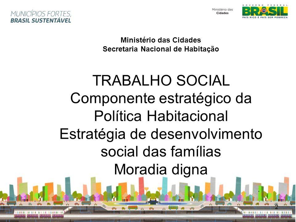 2 Ministério das Cidades Secretaria Nacional de Habitação TRABALHO SOCIAL Componente estratégico da Política Habitacional Estratégia de desenvolviment