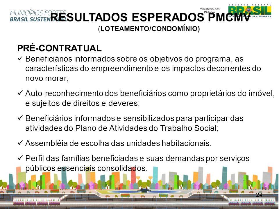 24 RESULTADOS ESPERADOS PMCMV (LOTEAMENTO/CONDOMÍNIO) PRÉ-CONTRATUAL Beneficiários informados sobre os objetivos do programa, as características do em