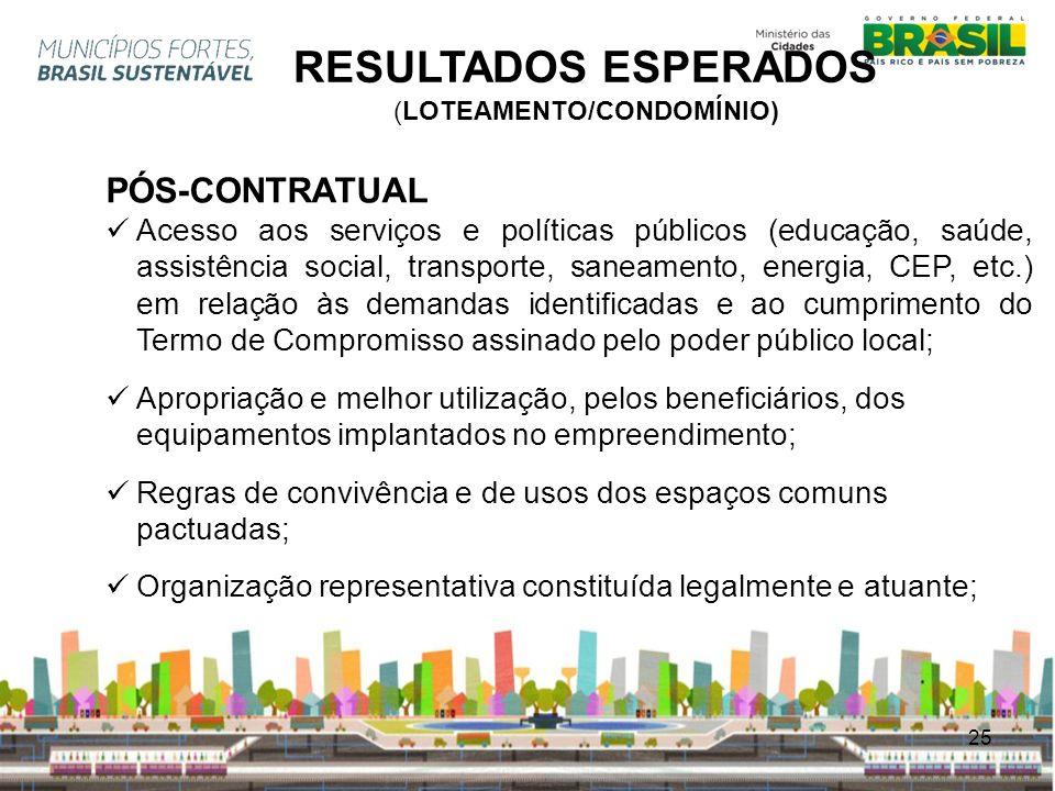 25 RESULTADOS ESPERADOS (LOTEAMENTO/CONDOMÍNIO) PÓS-CONTRATUAL Acesso aos serviços e políticas públicos (educação, saúde, assistência social, transpor