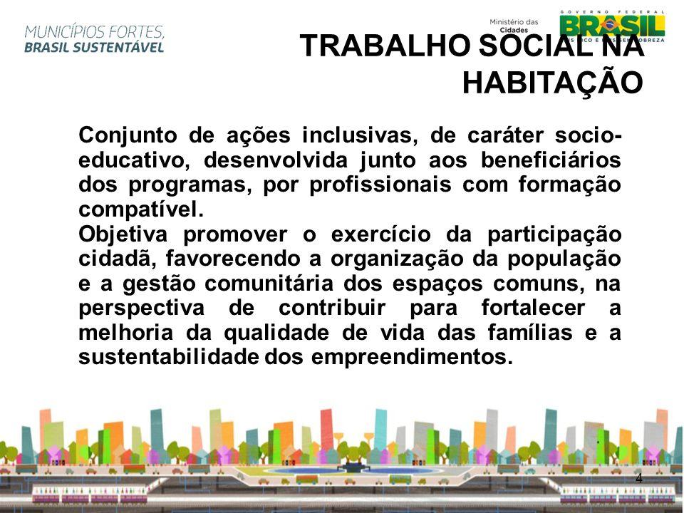 4 TRABALHO SOCIAL NA HABITAÇÃO Conjunto de ações inclusivas, de caráter socio- educativo, desenvolvida junto aos beneficiários dos programas, por prof