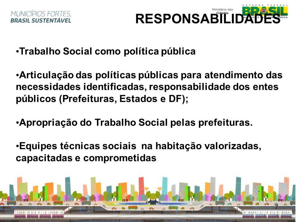 7 RESPONSABILIDADES Trabalho Social como política pública Articulação das políticas públicas para atendimento das necessidades identificadas, responsa