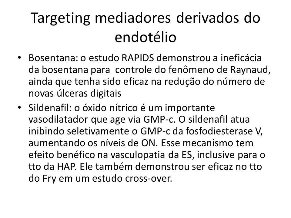 Targeting mediadores derivados do endotélio Bosentana: o estudo RAPIDS demonstrou a ineficácia da bosentana para controle do fenômeno de Raynaud, aind