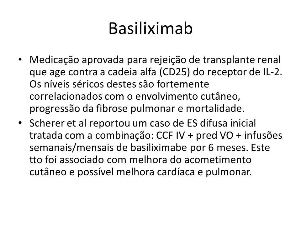 Basiliximab Medicação aprovada para rejeição de transplante renal que age contra a cadeia alfa (CD25) do receptor de IL-2. Os níveis séricos destes sã