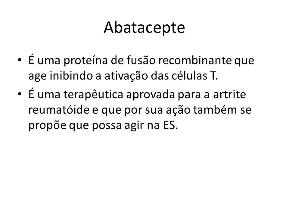 Abatacepte É uma proteína de fusão recombinante que age inibindo a ativação das células T. É uma terapêutica aprovada para a artrite reumatóide e que