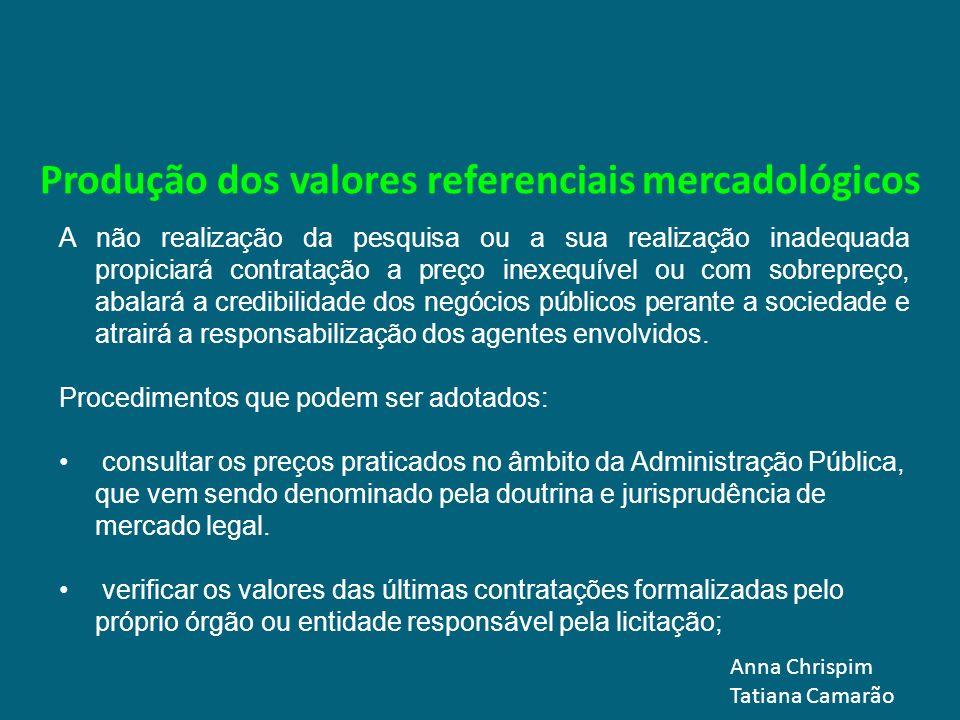 Produção dos valores referenciais mercadológicos A não realização da pesquisa ou a sua realização inadequada propiciará contratação a preço inexequíve