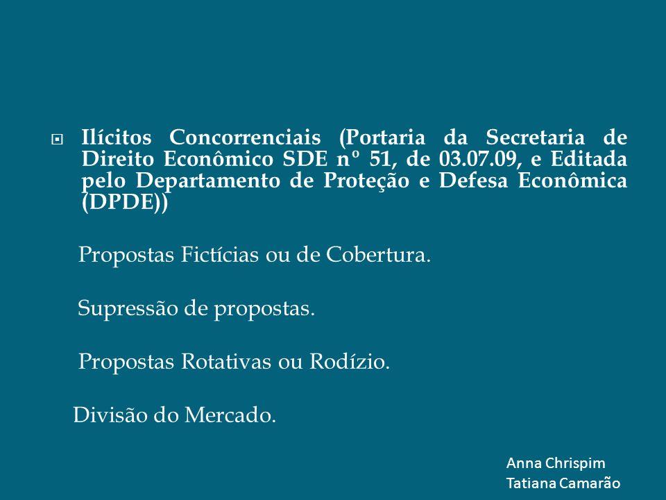 Ilícitos Concorrenciais (Portaria da Secretaria de Direito Econômico SDE nº 51, de 03.07.09, e Editada pelo Departamento de Proteção e Defesa Econômic