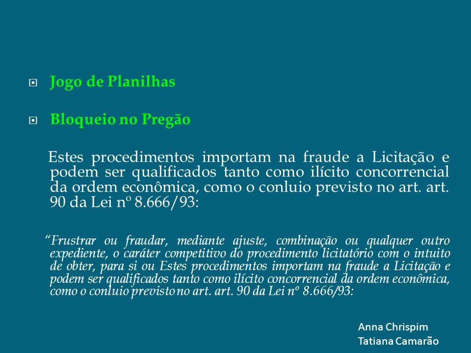 Jogo de Planilhas Bloqueio no Pregão Estes procedimentos importam na fraude a Licitação e podem ser qualificados tanto como ilícito concorrencial da o