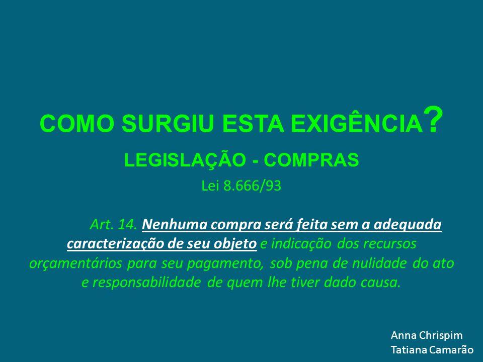 MODELO PARA ELABORAR O TERMO DE REFERÊNCIA Anna Chrispim Tatiana Camarão