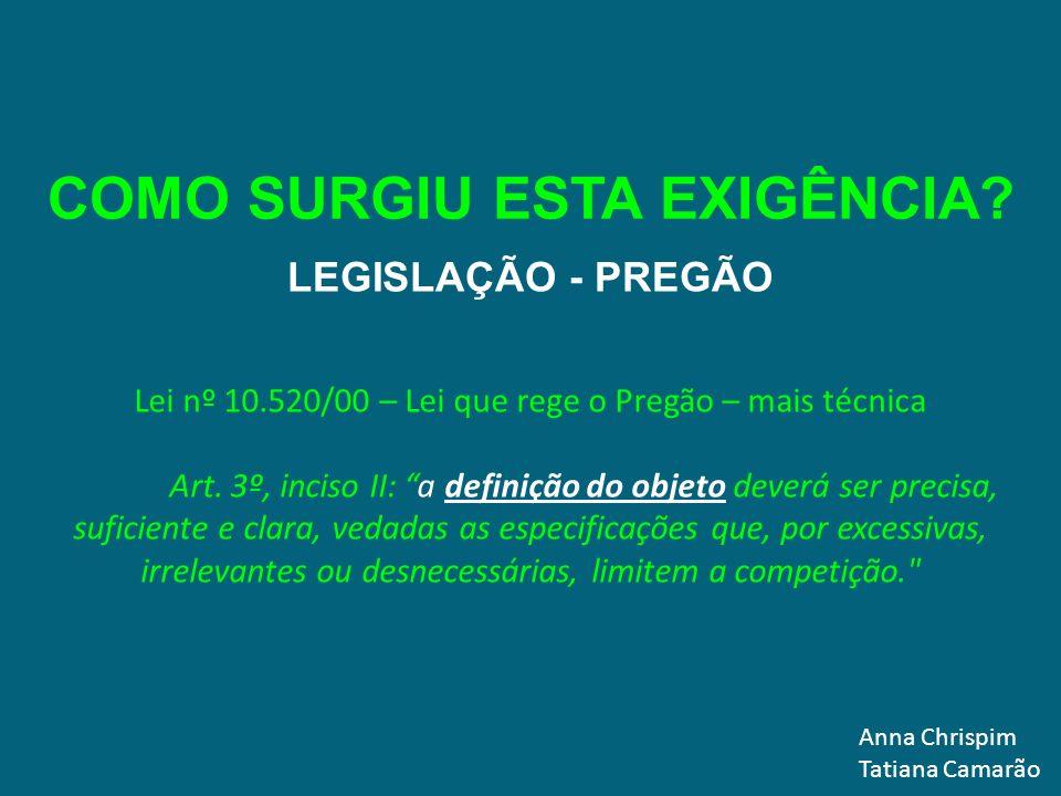 Anna Chrispim Tatiana Camarão LEGISLAÇÃO - PREGÃO DECRETO 3.555/2000 Art.