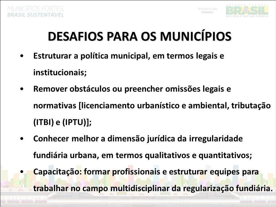 Ministério das Cidades DESAFIOS PARA OS MUNICÍPIOS Estruturar a política municipal, em termos legais e institucionais; Remover obstáculos ou preencher