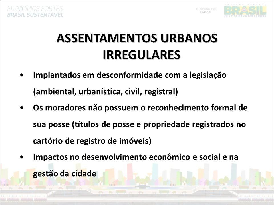 Ministério das Cidades ASSENTAMENTOS URBANOS IRREGULARES favelas vilas loteamentos irregulares/ clandestinos conjuntos habitacionais palafitas ocupações áreas públicas (municipais, estaduais, federais) áreas privadas áreas de propriedade desconhecida bairros