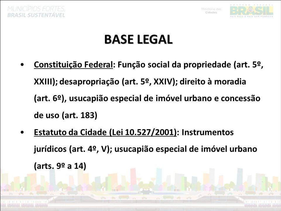Ministério das Cidades BASE LEGAL Constituição Federal: Função social da propriedade (art. 5º, XXIII); desapropriação (art. 5º, XXIV); direito à morad