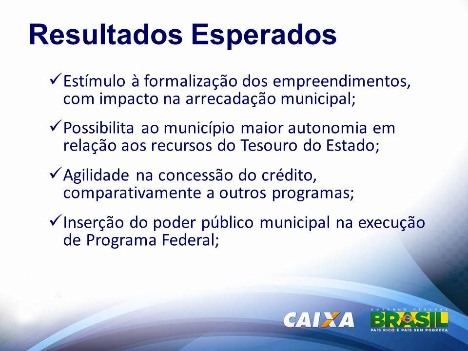 Resultados Esperados Estímulo à formalização dos empreendimentos, com impacto na arrecadação municipal; Possibilita ao município maior autonomia em re