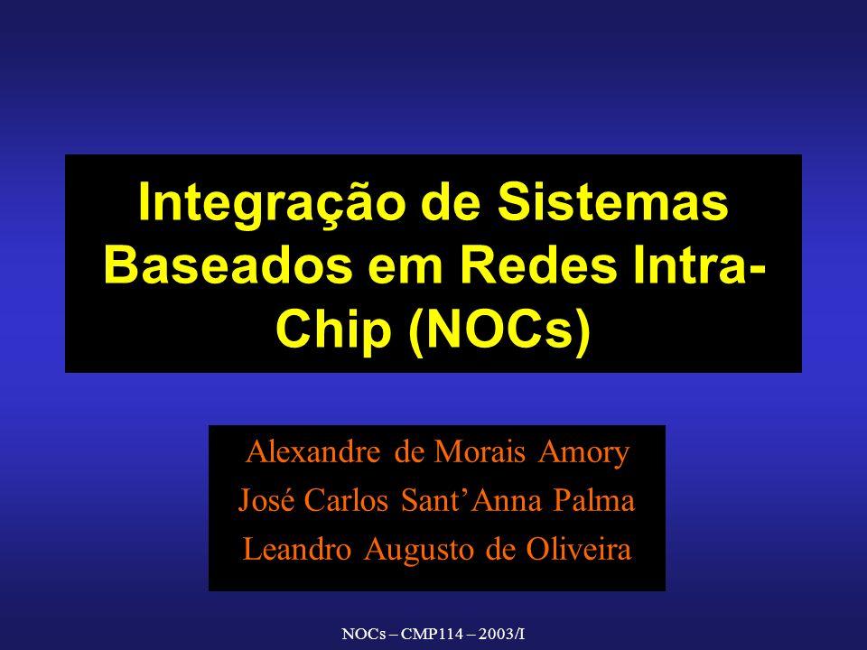 NOCs – CMP114 – 2003/I Integração de Sistemas Baseados em Redes Intra- Chip (NOCs) Alexandre de Morais Amory José Carlos SantAnna Palma Leandro August
