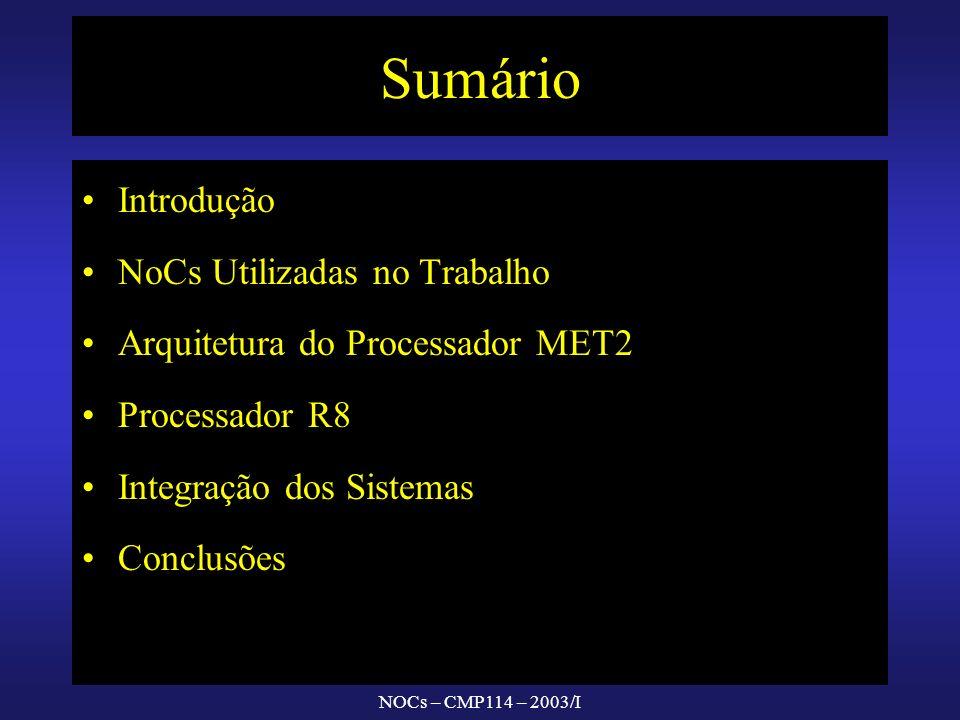 NOCs – CMP114 – 2003/I Sumário Introdução NoCs Utilizadas no Trabalho Arquitetura do Processador MET2 Processador R8 Integração dos Sistemas Conclusõe