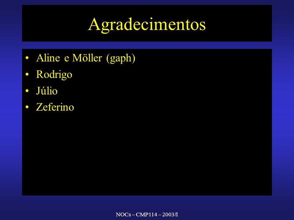 NOCs – CMP114 – 2003/I Agradecimentos Aline e Möller (gaph) Rodrigo Júlio Zeferino