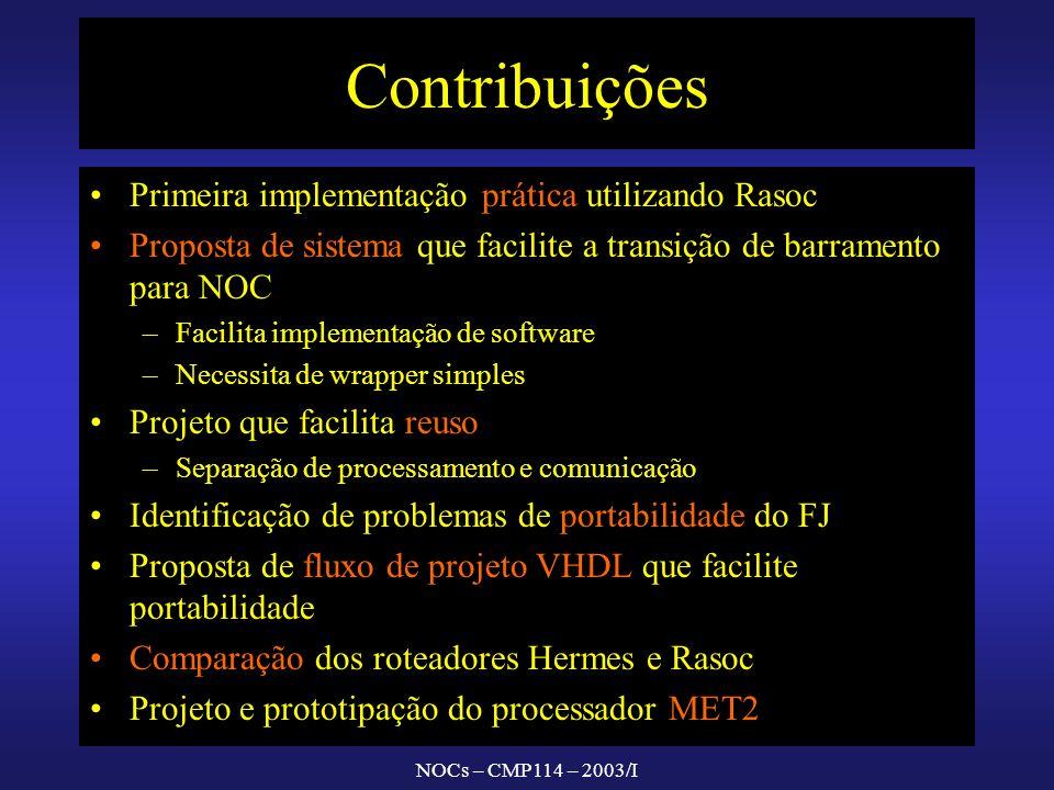 NOCs – CMP114 – 2003/I Contribuições Primeira implementação prática utilizando Rasoc Proposta de sistema que facilite a transição de barramento para N