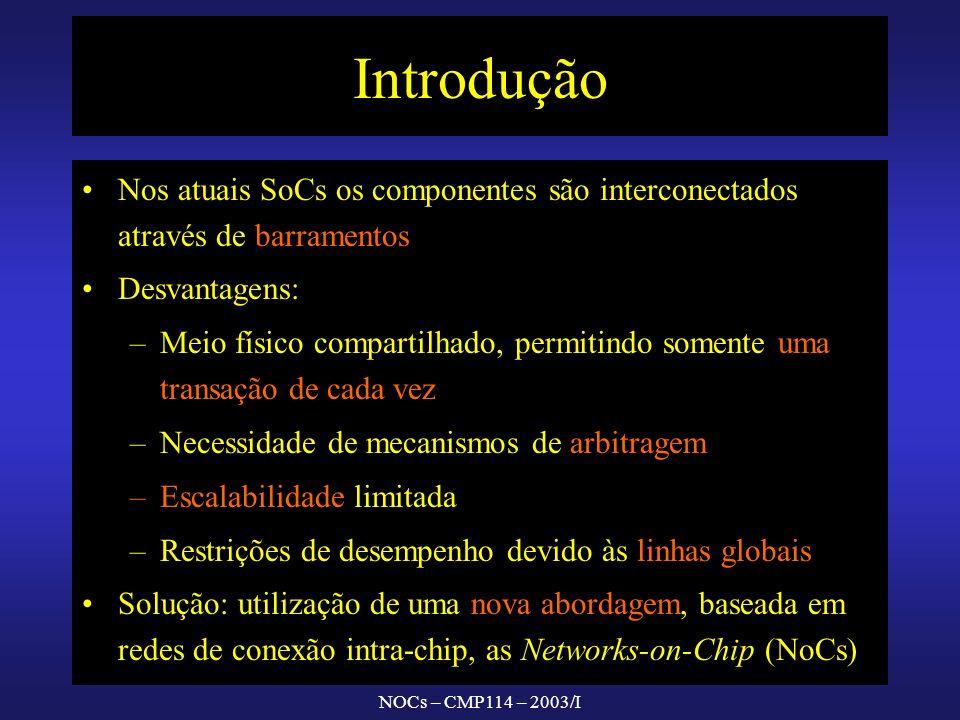 NOCs – CMP114 – 2003/I Introdução Nos atuais SoCs os componentes são interconectados através de barramentos Desvantagens: – –Meio físico compartilhado